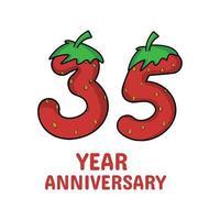 Celebração de aniversário de 35 anos ilustração de design de modelo de vetor de personagem de morango