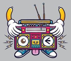 personagem fofa de ilustração de gravador de fita cassete retrô isolada com fundo cinza vetor