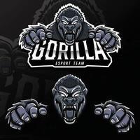 ilustração do logotipo esport do gorila animal selvagem zangado vetor