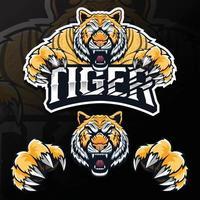 Ilustração do logotipo do tigre esport com animal selvagem bravo vetor