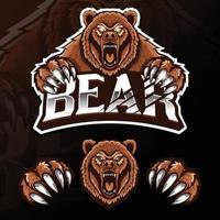 ilustração do logotipo esport do urso animal selvagem zangado vetor