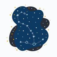 Constelação fofa signo do zodíaco escorpião rabiscando estrelas desenhadas à mão e pontos no espaço abstrato vetor
