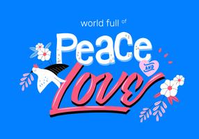 Paz e amor Typogrphic Vector plana ilustração