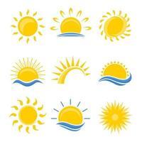 conjunto de logotipo do sol vetor