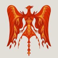 Projeto do logotipo do personagem mascote da fênix vermelha com efeito de fogo vetor