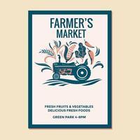 Ilustração em vetor mercado de fazendeiros de caminhonete de fazendeiro para cartaz panfleto convite