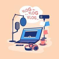 ilustração sobre o conceito de equipamento de podcast de podcast vetor