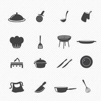 ilustração conjunto de ícones de cozinha vetor