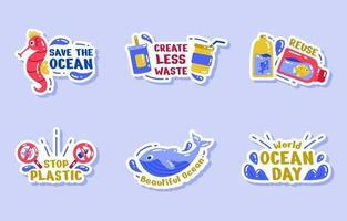 conjunto de adesivos de ativismo dos dias mundiais do oceano vetor