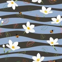 Padrão sem emenda de flores brancas fofas em fundo ondulado para impressão ou papel de parede de tecido de moda vetor