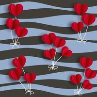 corações vermelhos dão forma a balões em fundo ondulado para moda, tecido, têxtil, impressão ou papel de embrulho vetor