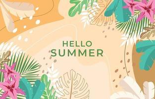 fundo floral tropical de verão vetor