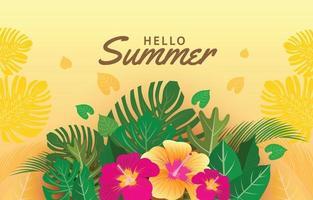olá fundo tropical de verão vetor