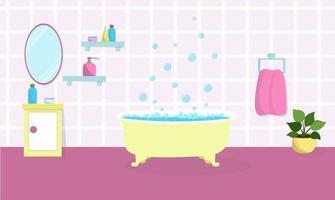 banheiro interior amarelo banheira com espuma de sabão e bolhas ilustração vetorial produtos de beleza estão nas prateleiras vetor
