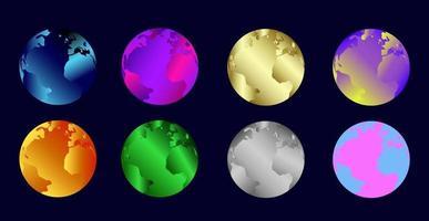 Vetor do planeta Terra definir ilustração em cores diferentes design elegante da imagem do planeta com efeito de holografia