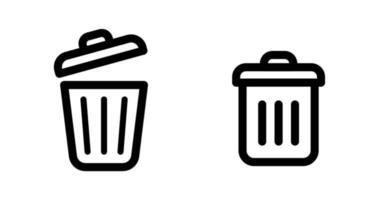 ícone de lixeira, lata de lixo, linha plana, símbolo de exclusão vetor