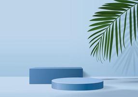 Produtos de fundo 3D exibem cena de pódio com folha verde vetor de fundo de plataforma geométrica renderização em 3D com suporte de pódio para mostrar vitrine de palco de produtos cosméticos em estúdio azul de exibição de pedestal