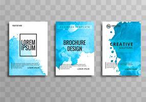 Vetor de conjunto abstrato elegante azul negócios brochura