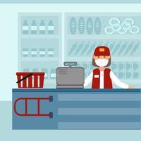 o vendedor é o caixa dos produtos em uma máscara de proteção vetor
