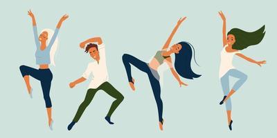 meninas e meninos dançarinos em diferentes poses conjunto de caracteres vetoriais na coleção de estilo simples de dançarinos modernos vetor