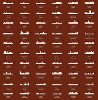 conjunto de 60 silhuetas de cidades da áfrica vetor