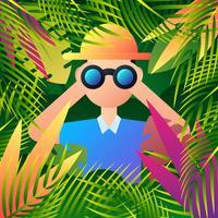 Explorador da selva espia algo através de seus binóculos