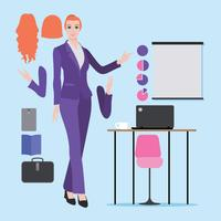 Ilustração, de, caucasiano, ou, europeu, profissional, mulher, com, executiva, roupas vetor