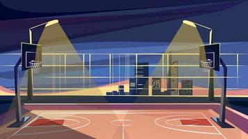 quadra de basquete no fundo de arranha-céus vetor
