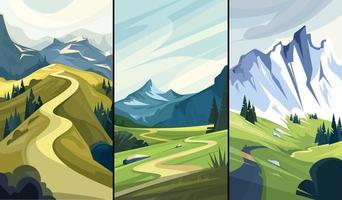 coleção de paisagens naturais com estradas de montanha vetor