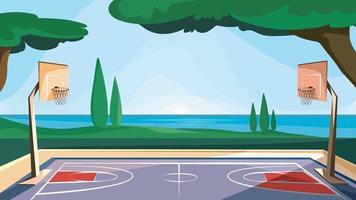 quadra de basquete a beira mar vetor
