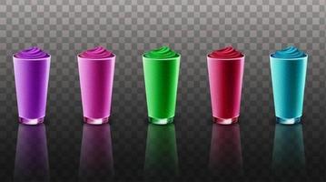 conjunto de smoothie em copo de vidro vetor