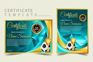 certificado de diploma de jogo de futebol com vetor definido de taça