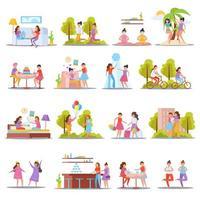 ilustração vetorial de ícones ortogonais de amizade para meninas vetor