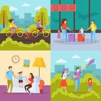ilustração em vetor conceito ortogonal de atividades familiares