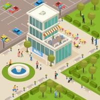 ilustração em vetor composição isométrica arquitetura urbana