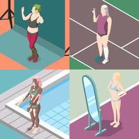 corpo positividade movimento ilustração em vetor design conceito 2x2