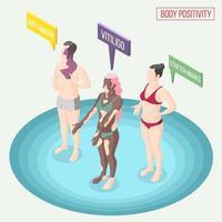ilustração em vetor corpo positividade movimento composição