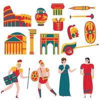 ilustração vetorial conjunto de ícones de roma antiga vetor