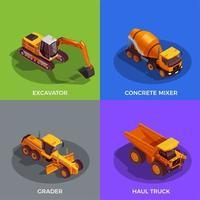construção de veículos ilustração em vetor conceito design isométrico