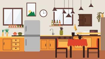 cozinha espaçosa e sala de jantar design de interiores plana vetor