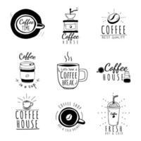 conjunto de café vintage vetor