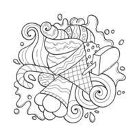 desenho de livro para colorir de sorvete e doces de desenho animado vetor