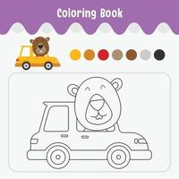 livro para colorir de folha de trabalho de tema animal bonito para ilustração vetorial de educação - castor no carro vetor