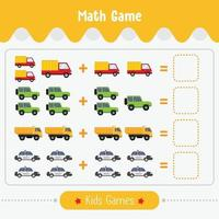 jogo de matemática com imagens para crianças jogo de educação de nível fácil para atividades de planilha pré-escolar de crianças vetor