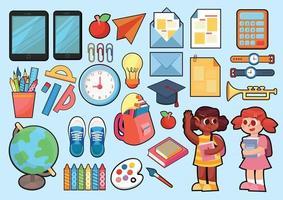 artigos de papelaria e brinquedos escolares para crianças vetor