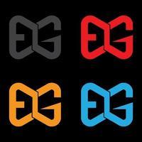 letra e com ilustração de imagens do logotipo g vetor
