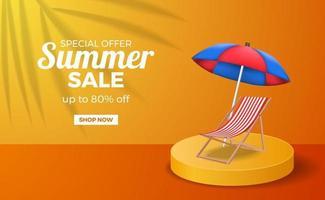 modelo de banner de pôster de venda de verão com cor quente laranja no palco do pódio com cadeira preguiçosa e guarda-chuva vetor