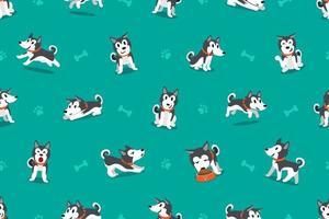 vetor personagem de desenho animado cão husky siberiano padrão sem emenda