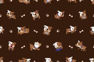 vetor desenho animado personagem bulldog padrão sem emenda