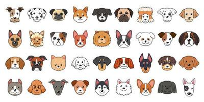 diferentes tipos de rostos de cachorro de desenho vetorial vetor